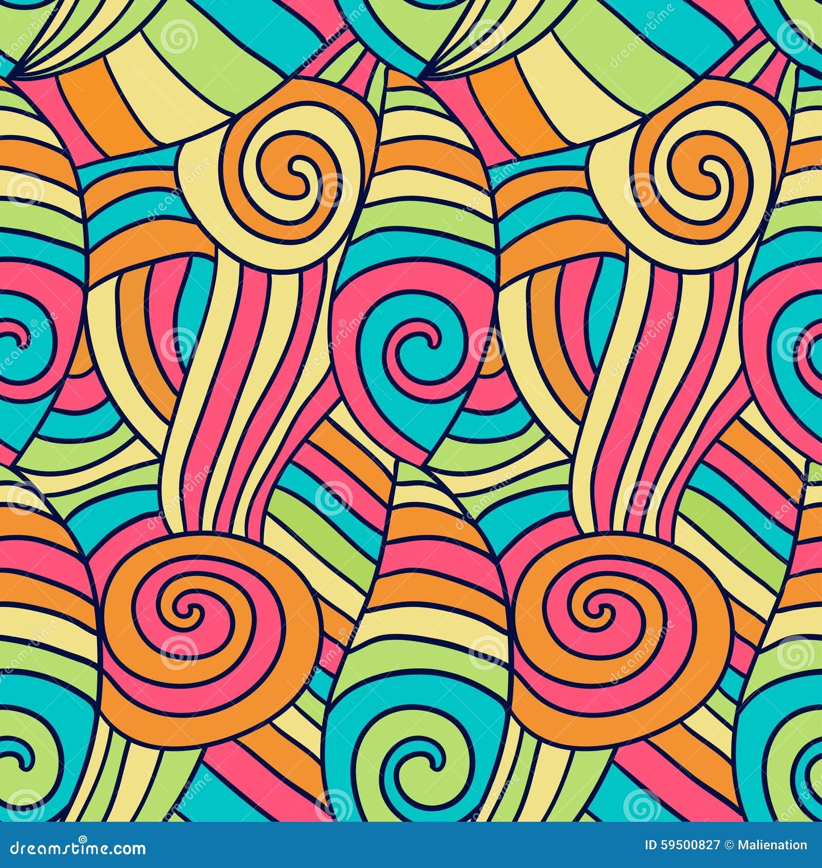 Colorfu Abstract Waves Pattern Hand Drawn Spiral Wavy