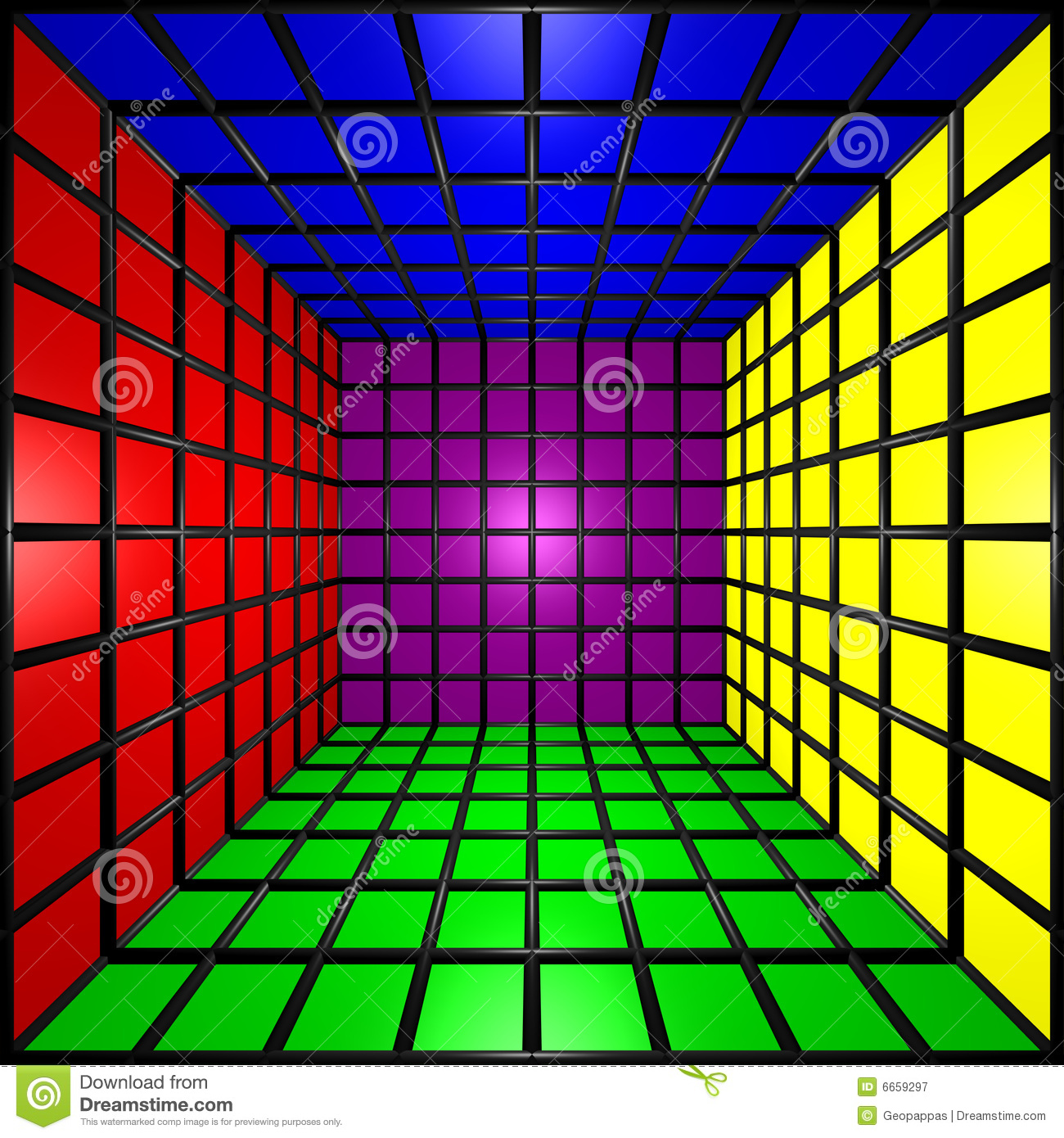 Rainbow R Room: Colorful 3D Cube W/ Grid Stock Illustration. Image Of
