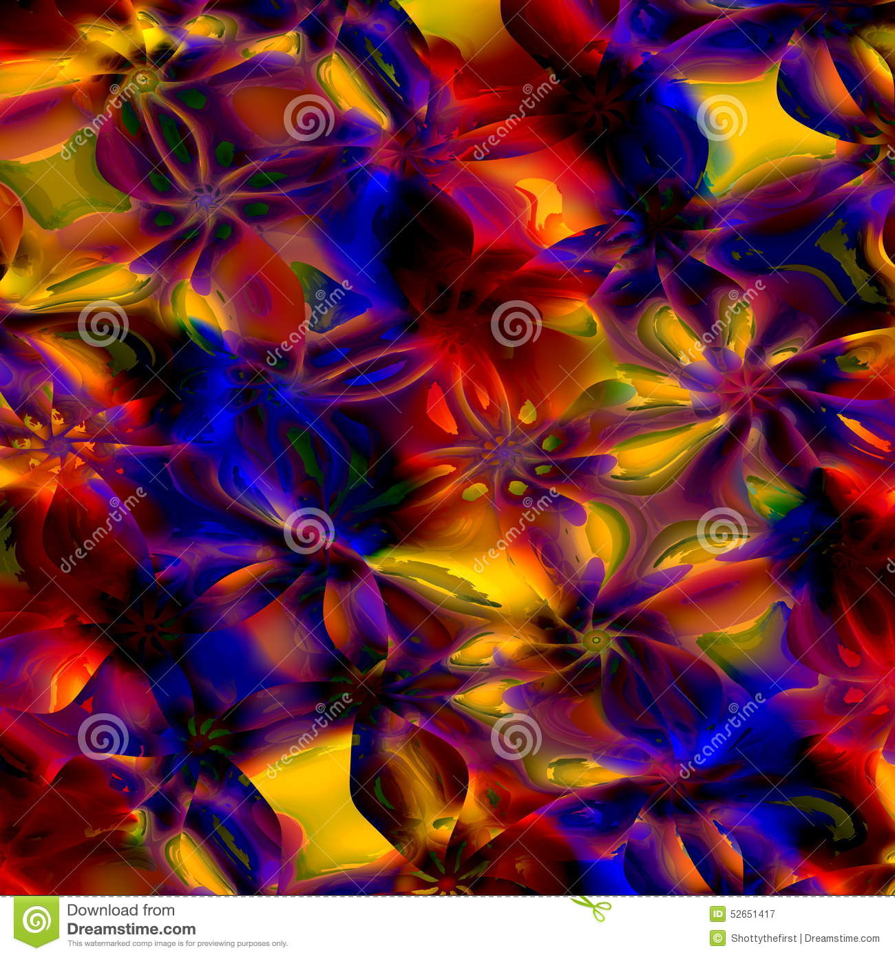 Colorful Abstract Art Background Computer Generated Floral Fractal Pattern Digital Design Illustration Creative Colored Image 52651417