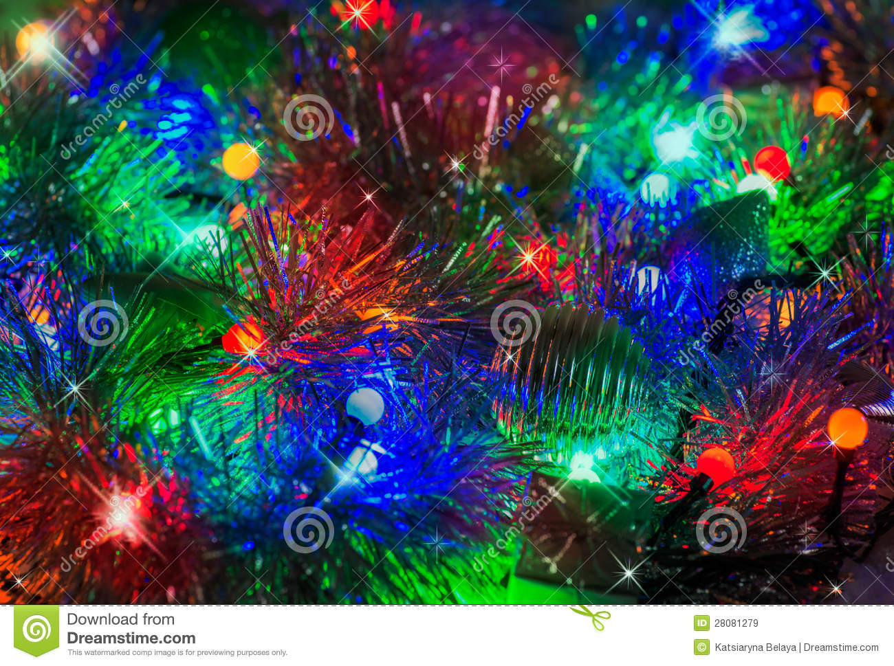 Colorful abstract background with christmas lights stock