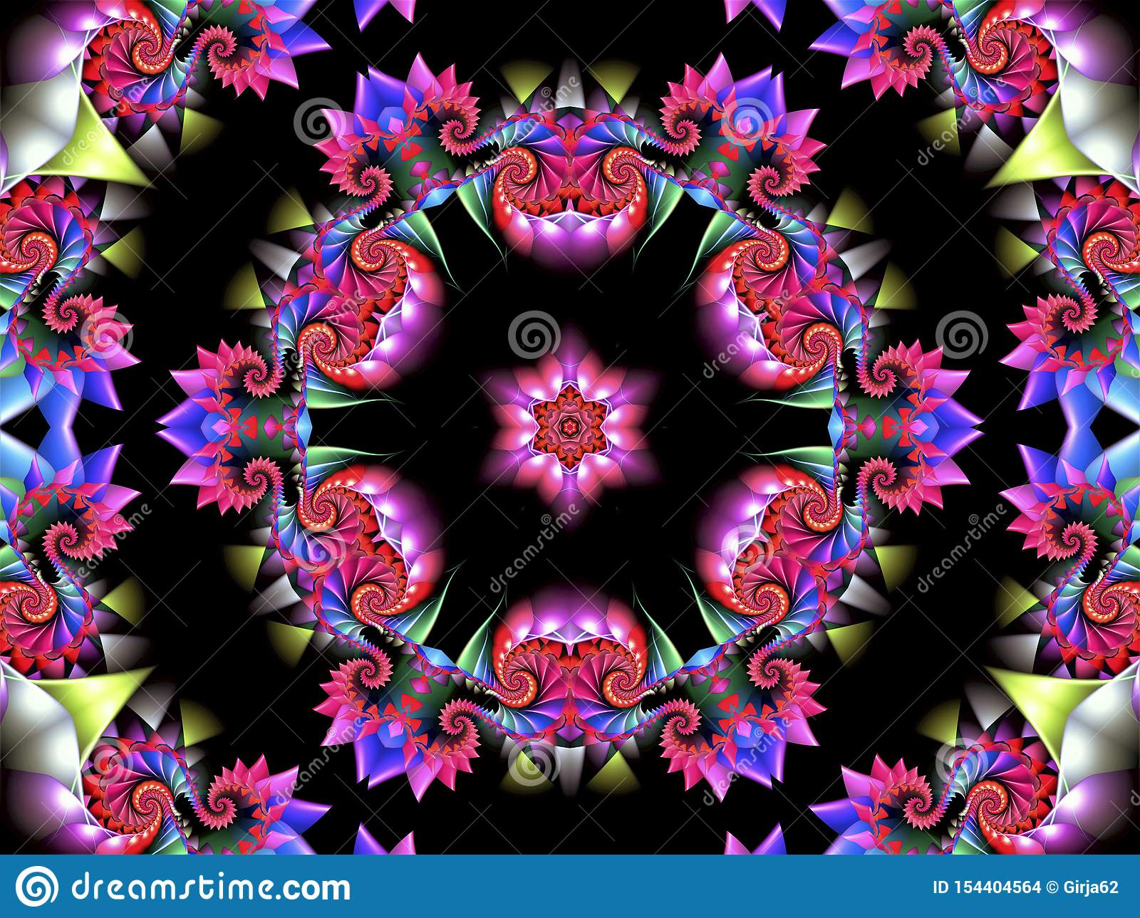 Colorful abstract background with a multi-colored circular ornament with various shapes and a beautiful abstract star in the cente
