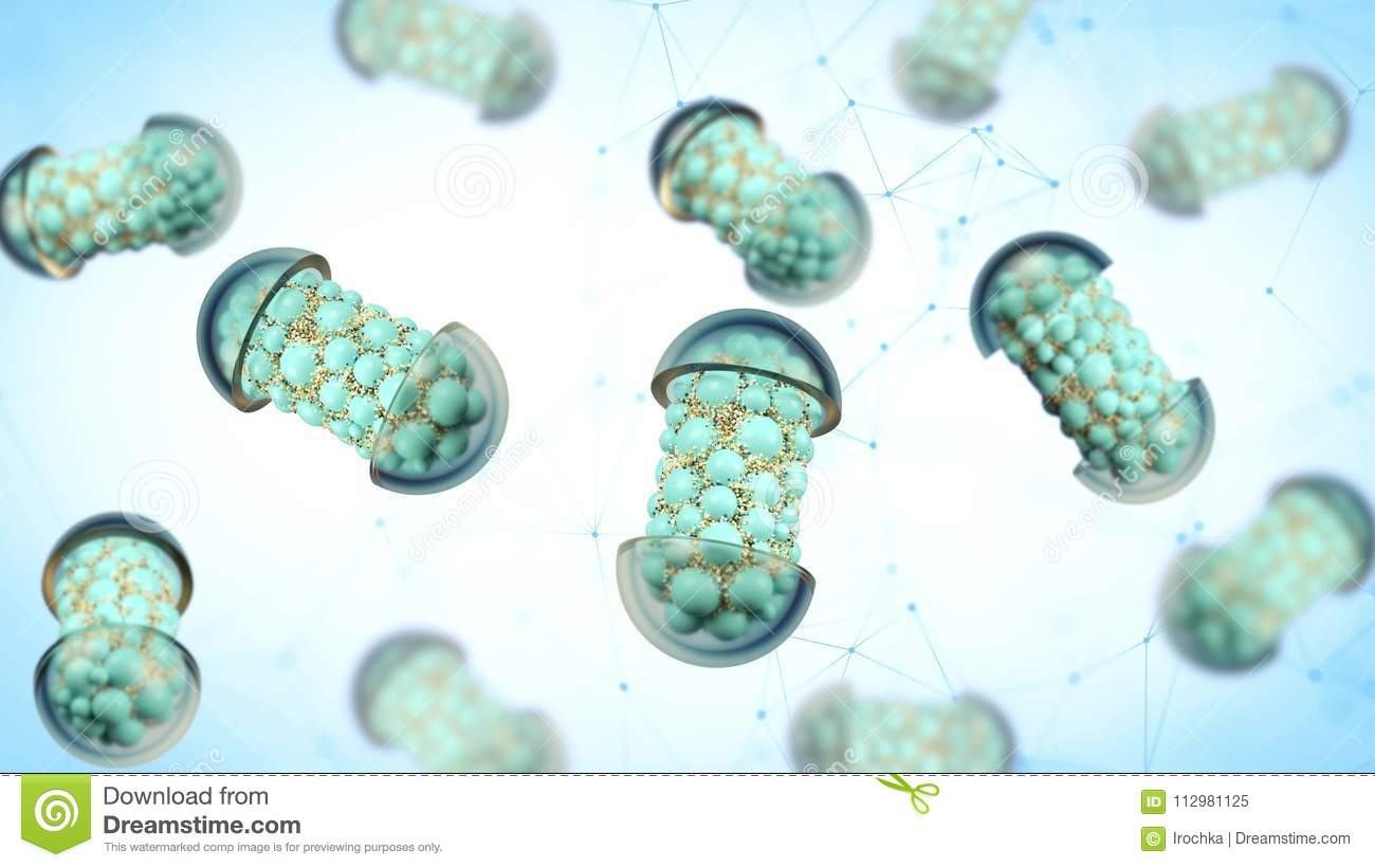 Colorful abstract chaotic structure balls inside the capsule, pharmacy and medical concept isolated on white background