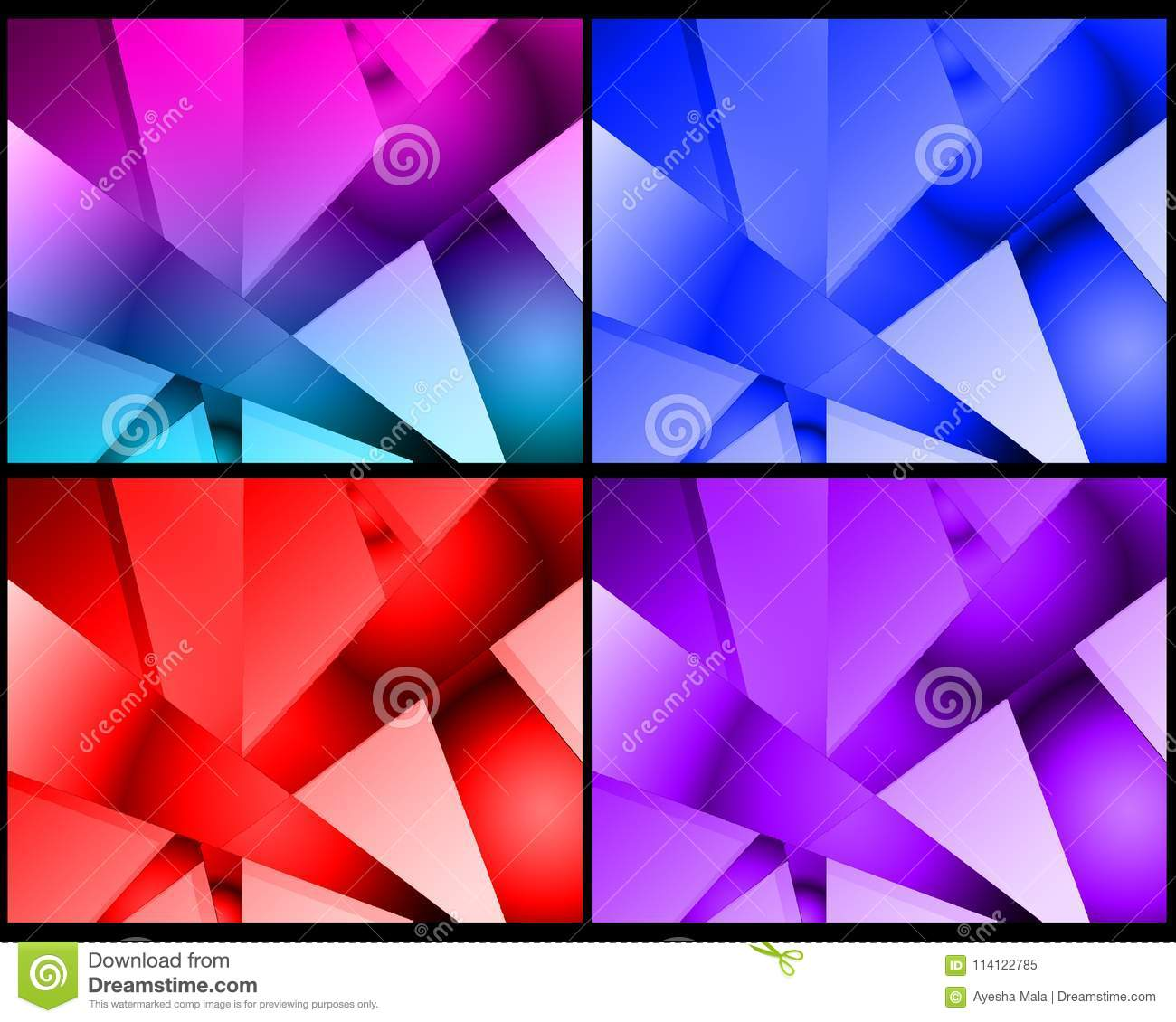 Colorful Abstract Digital Shape, Pack Of 4 Different Color Designs ...