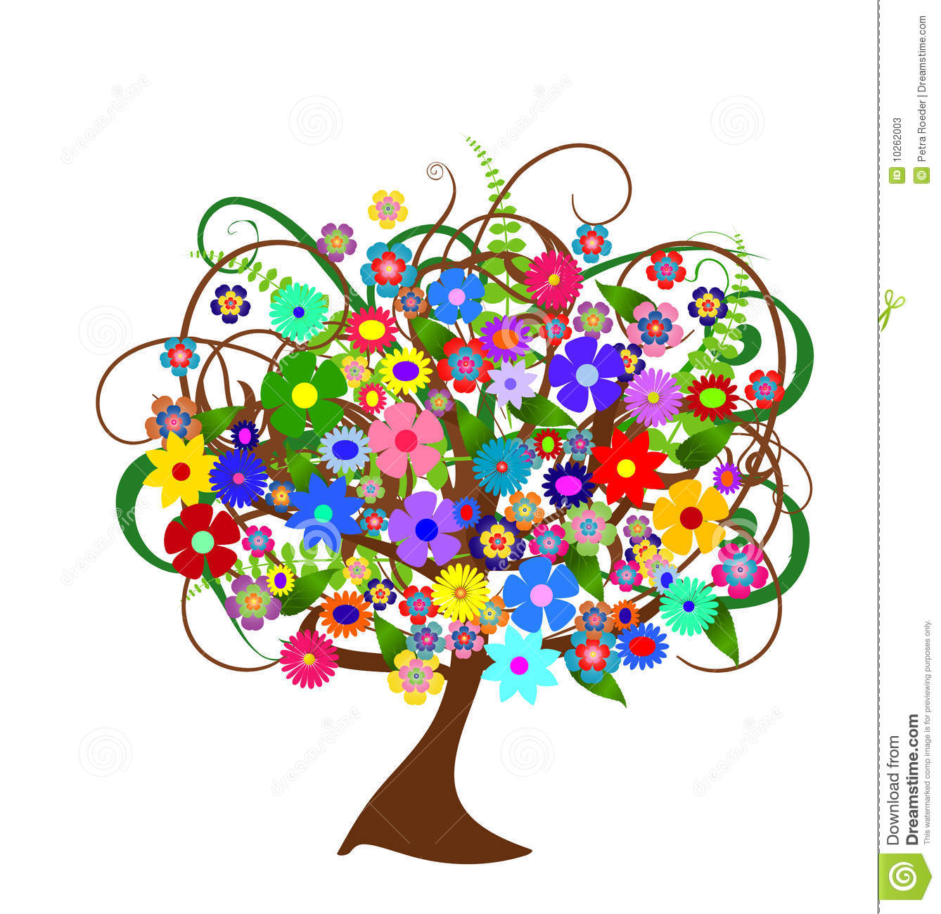 Colorful Abstract Flower Tree Stock Illustration - Image ...