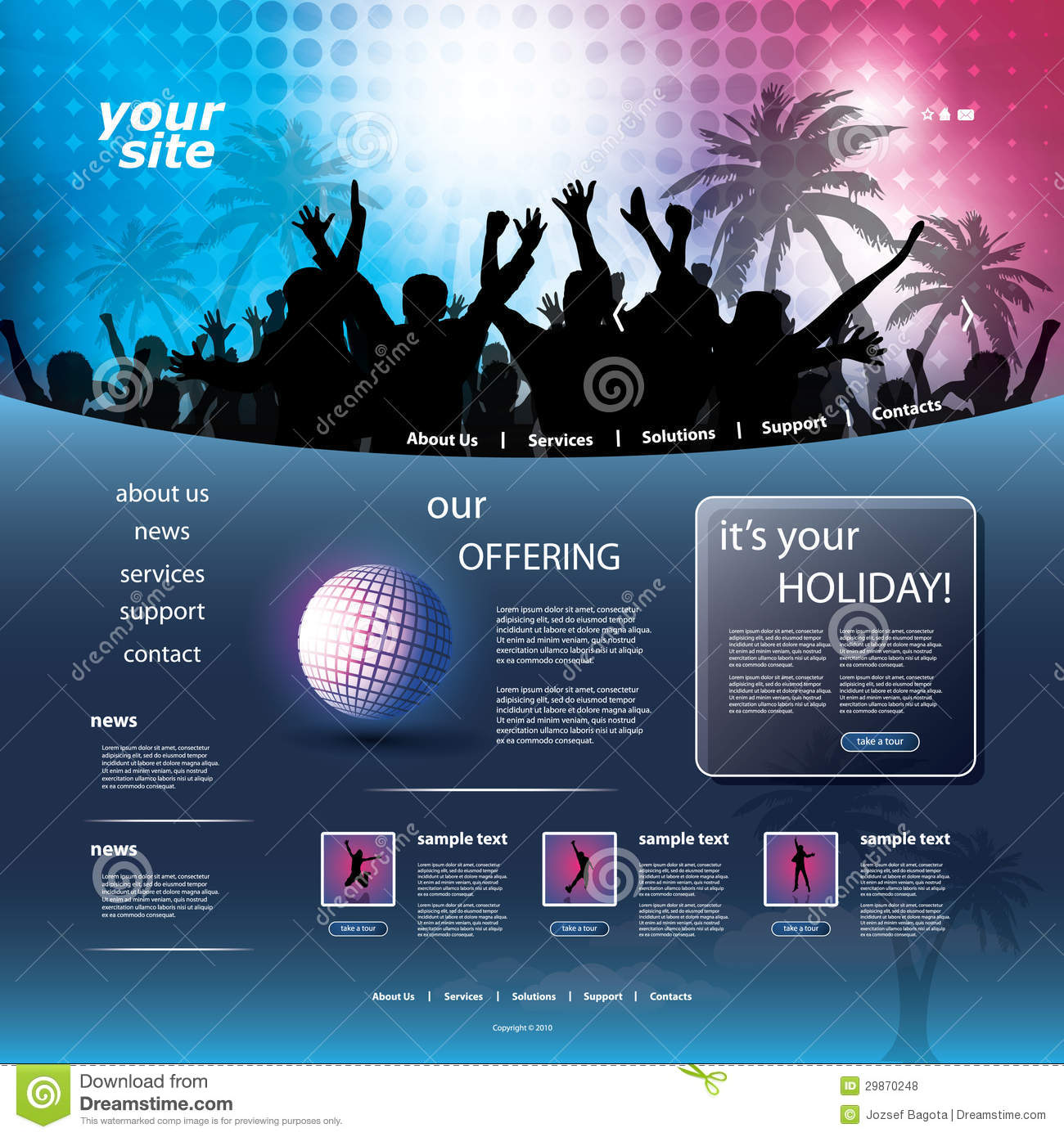 Party Website Template Royalty Free Stock Photos - Image: 29870248