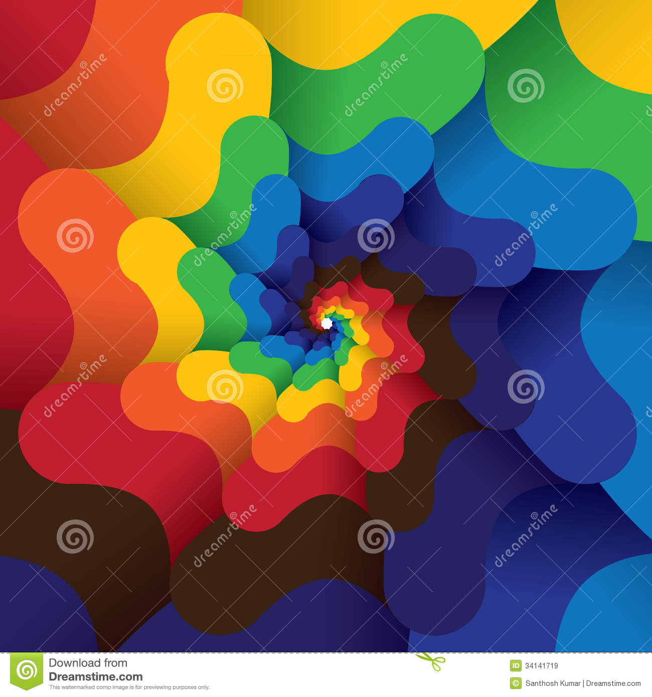 Colorful abstract infinite spiral of bright colors background