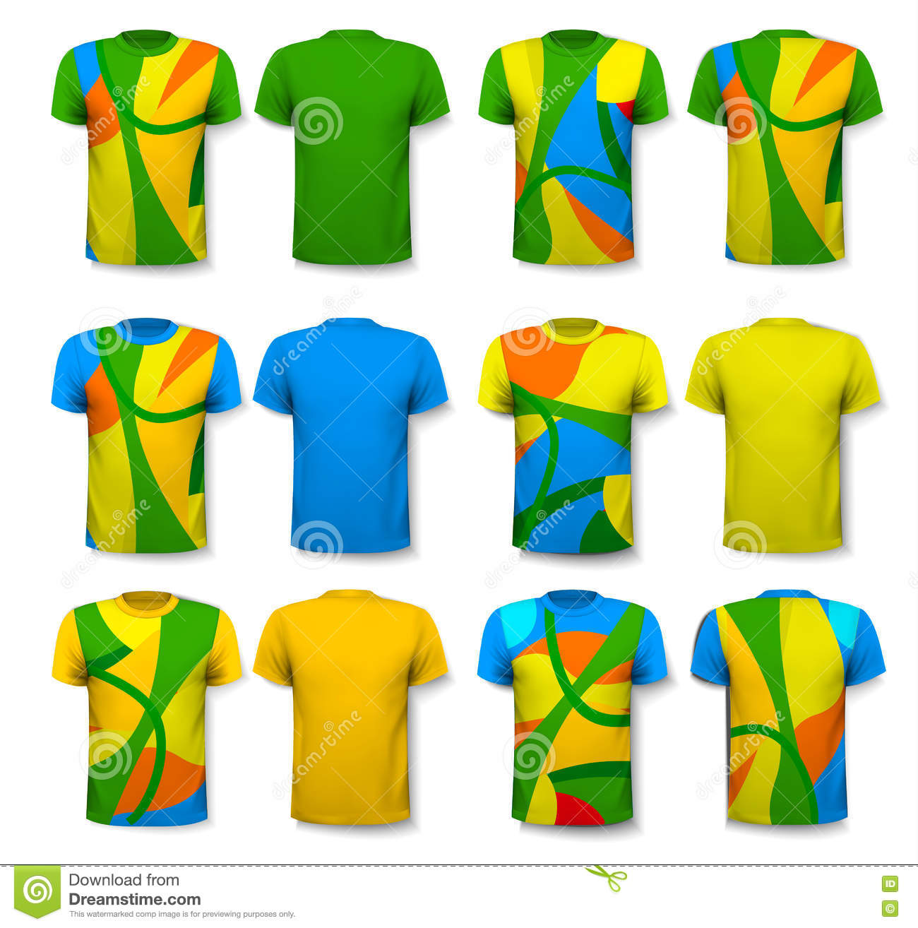 Design t shirt uniform - Colorful Abstract Male T Shirts Design Template Stock Image