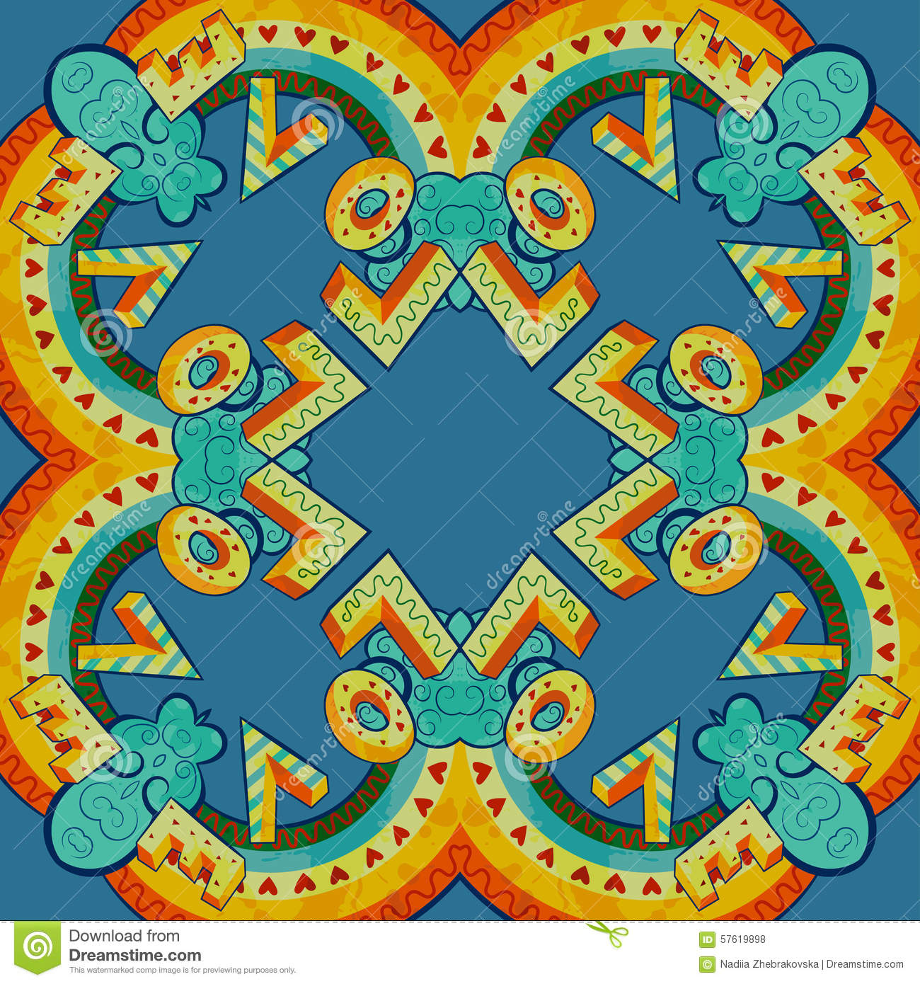 Colorful Abstract Mandala Shapes 7 Stock Vector
