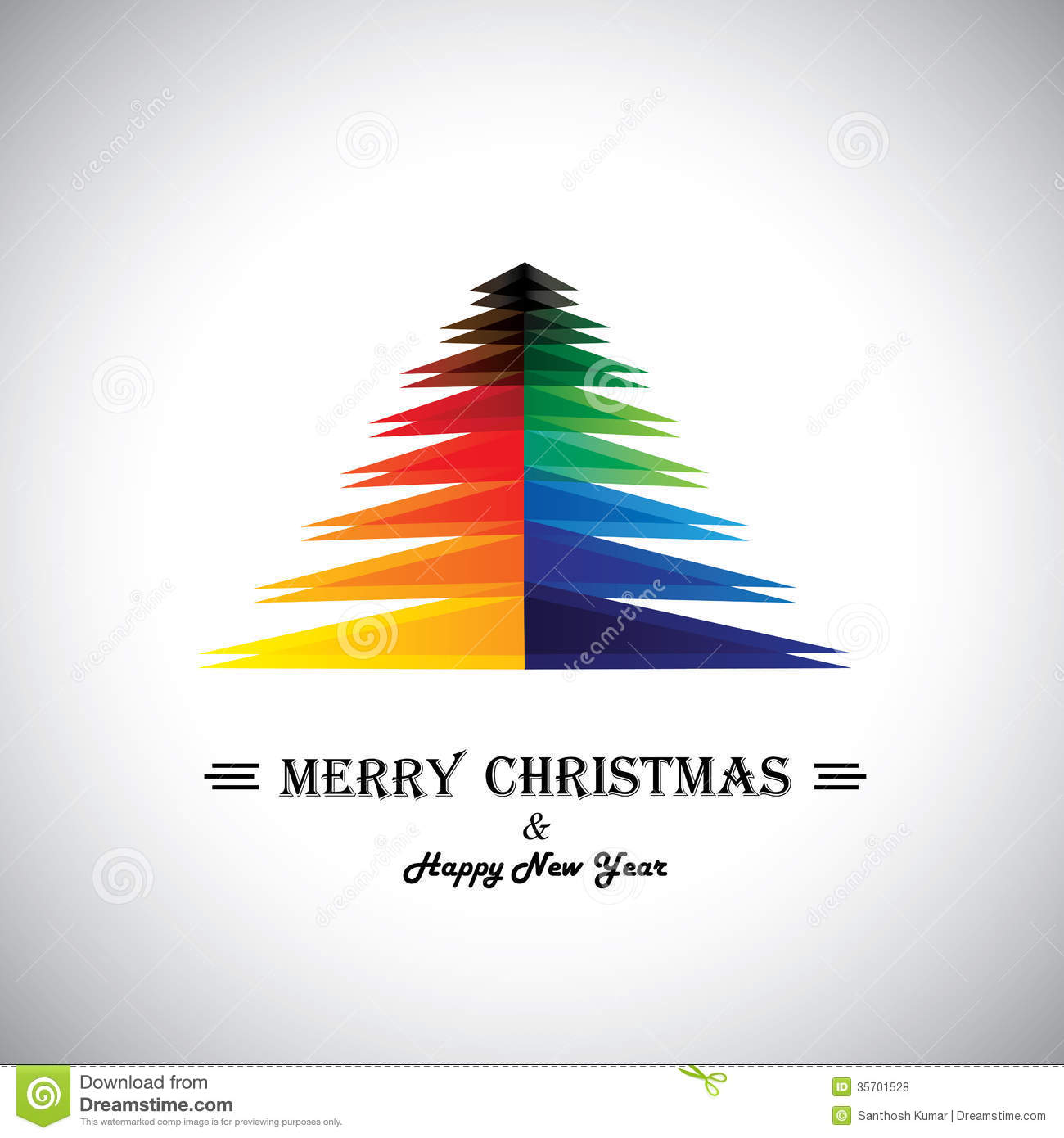 Colorful abstract merry christmas card & xmas tree