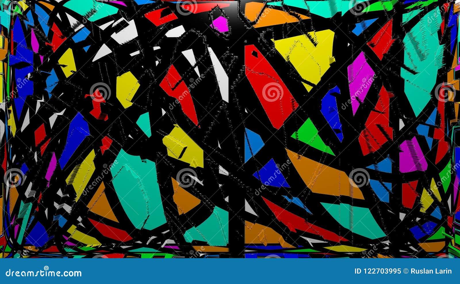 Colorful Abstract Mosaic Graffiti Wall Stock Illustration