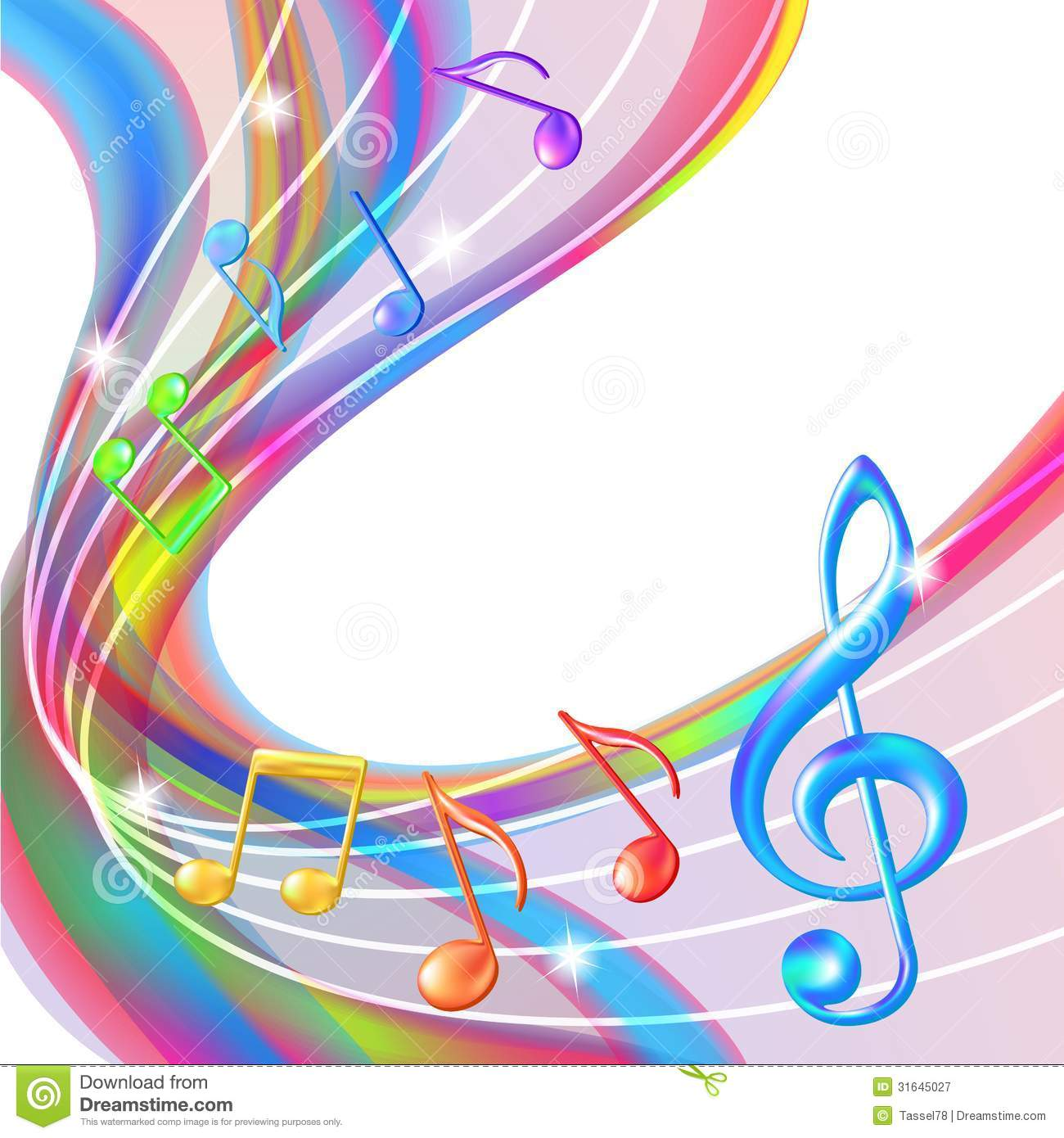 Colorful Abstract Notes Music Background Stock Vector Image