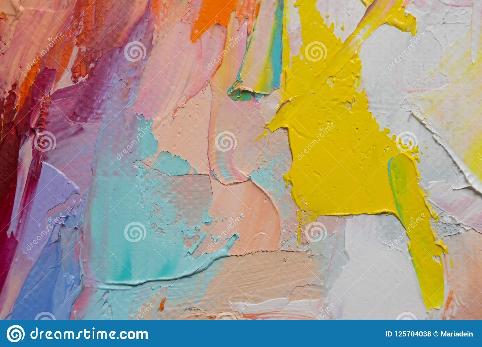 Fragment. Multicolored texture painting. Abstract art background. oil on canvas. Rough brushstrokes of paint. Closeup of a paintin