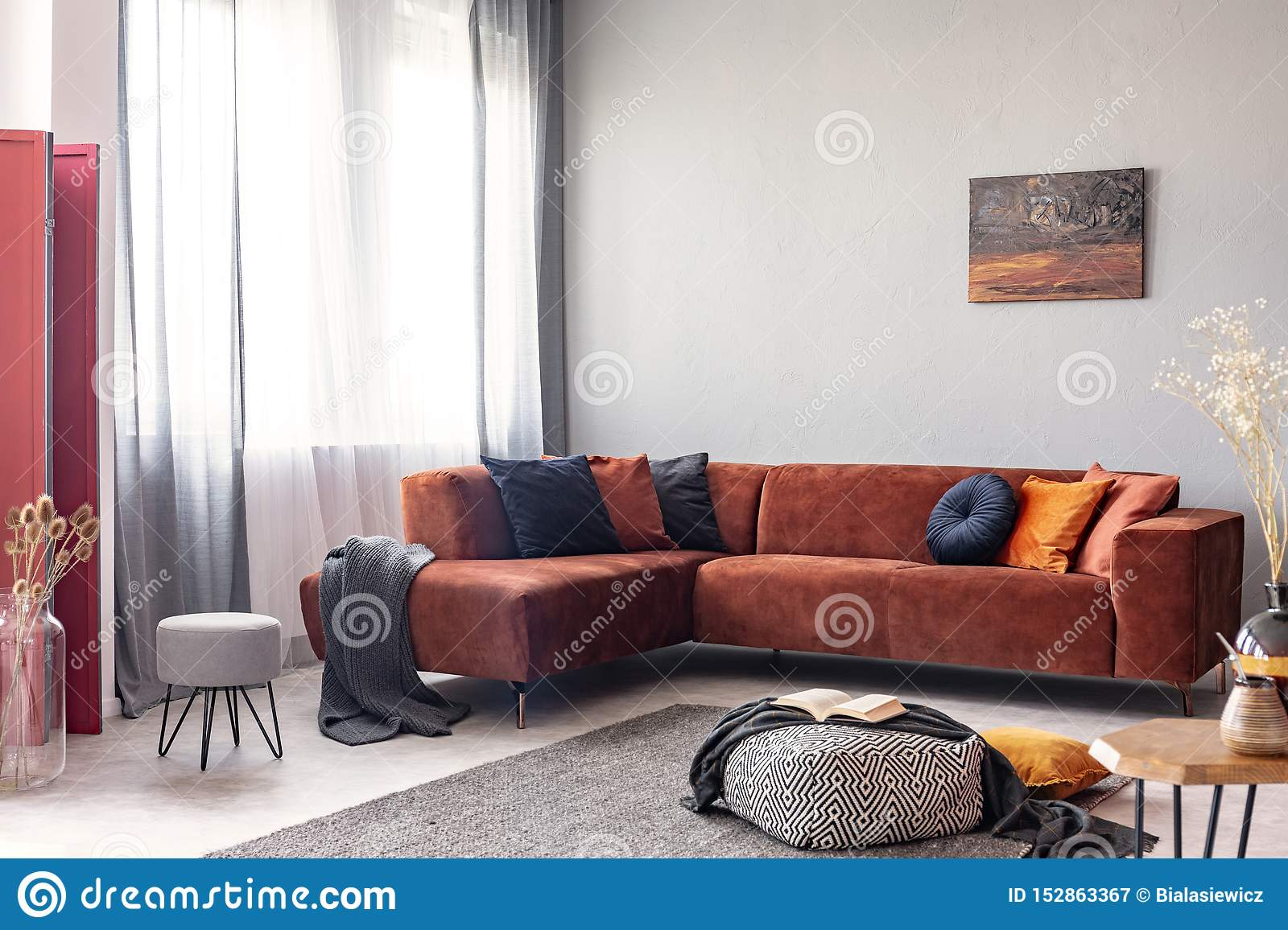Colorful Abstract Painting On White Wall Of Stunning Living Room Interior Stock Image Image Of Abstract Interior 152863367