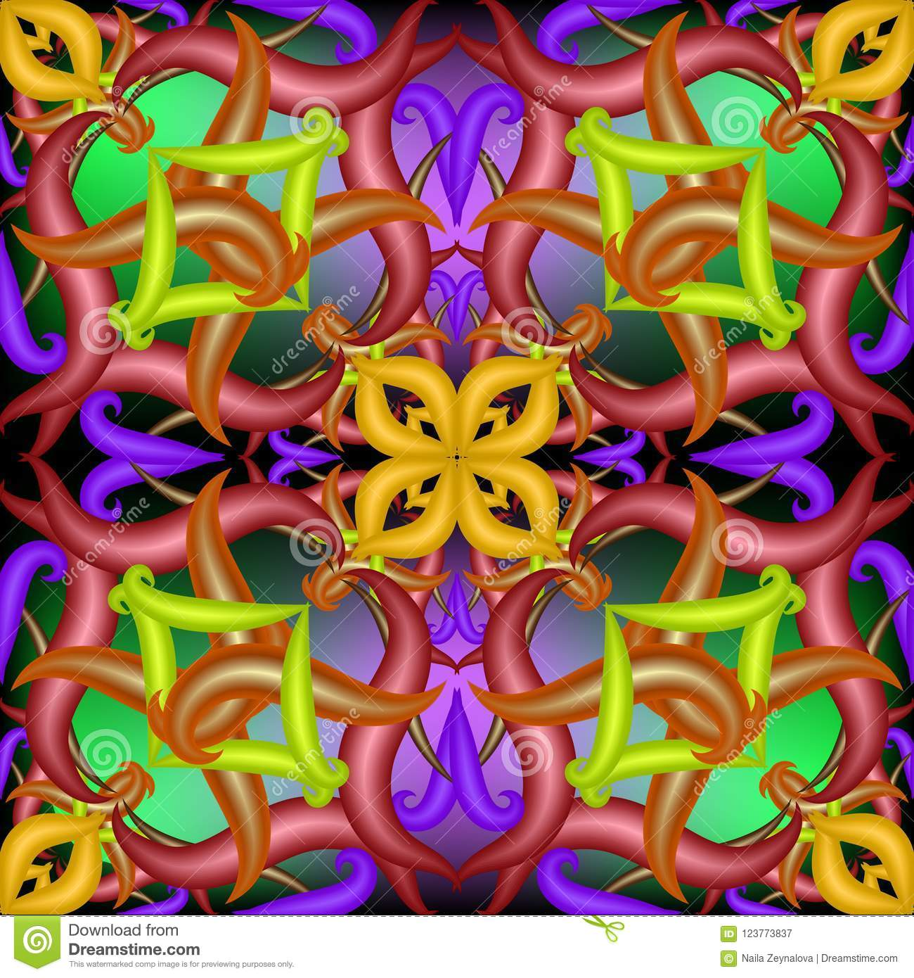 Colorful Abstract Vector 3d Paisley Seamless Pattern Stock