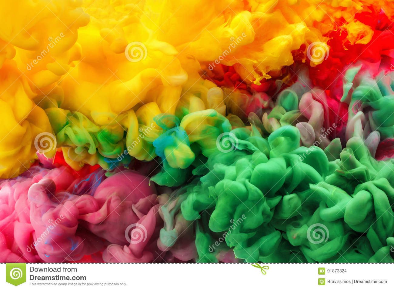 Colorful acrylic ink in water isolated. Abstract background. Color explosion