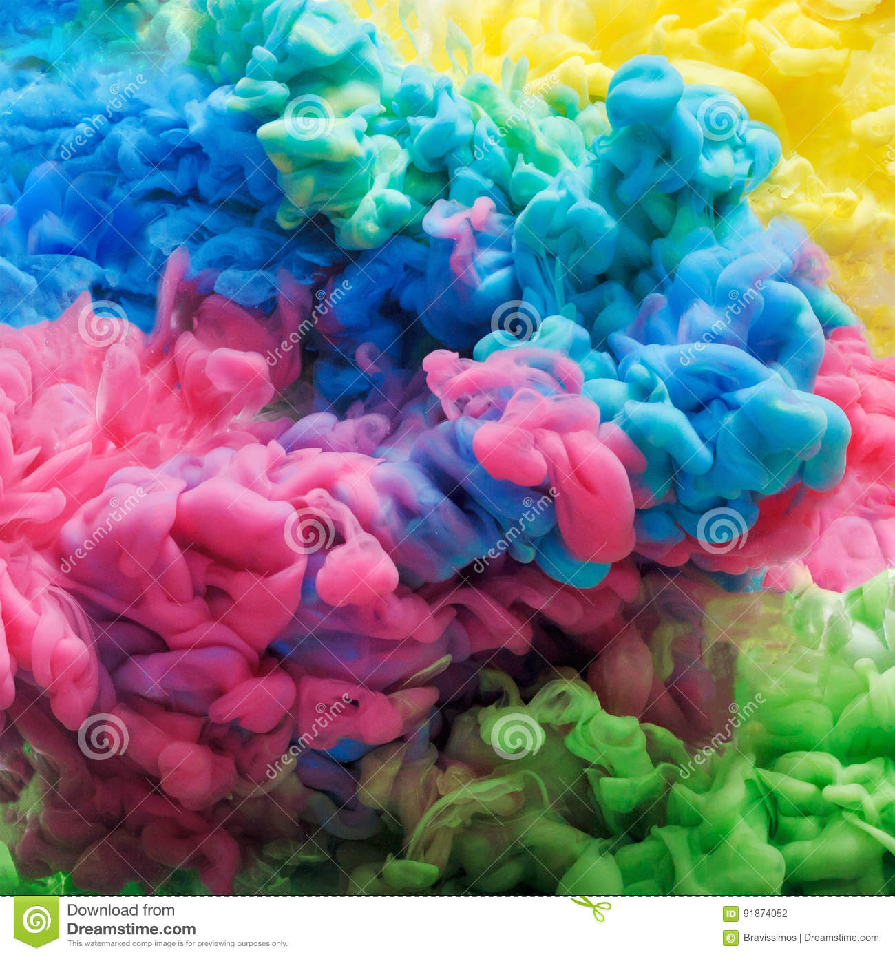 Download Colorful Acrylic Ink In Water Isolated. Abstract Background. Color Explosion Stock Photo - Image of design, decoration: 91874052