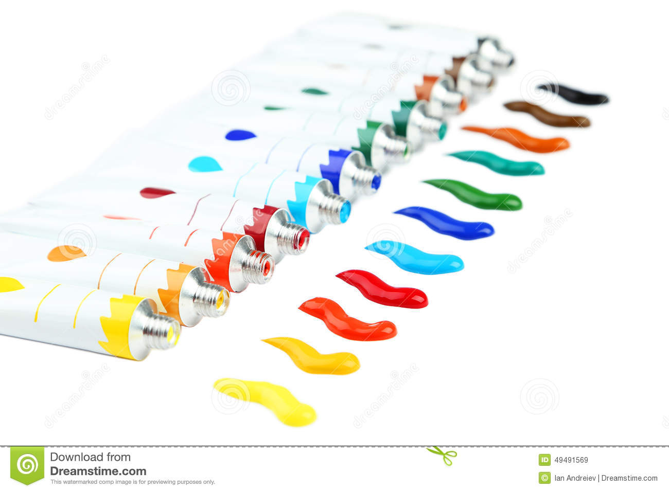 Colorful acrylic paints in tubes on the white background