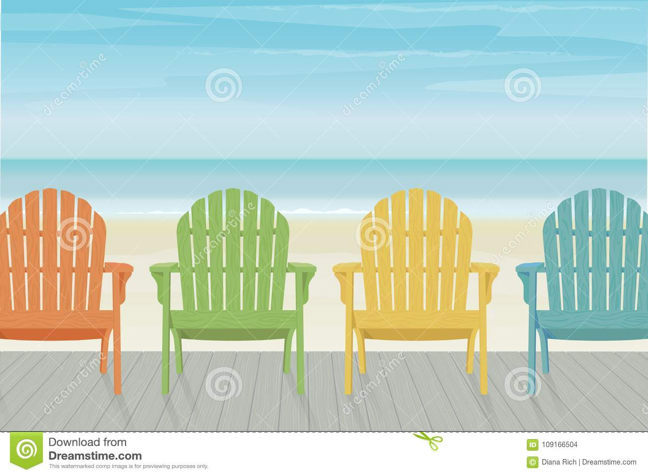 Colorful Adirondack Beach Chairs On Boardwalk Stock Vector ...