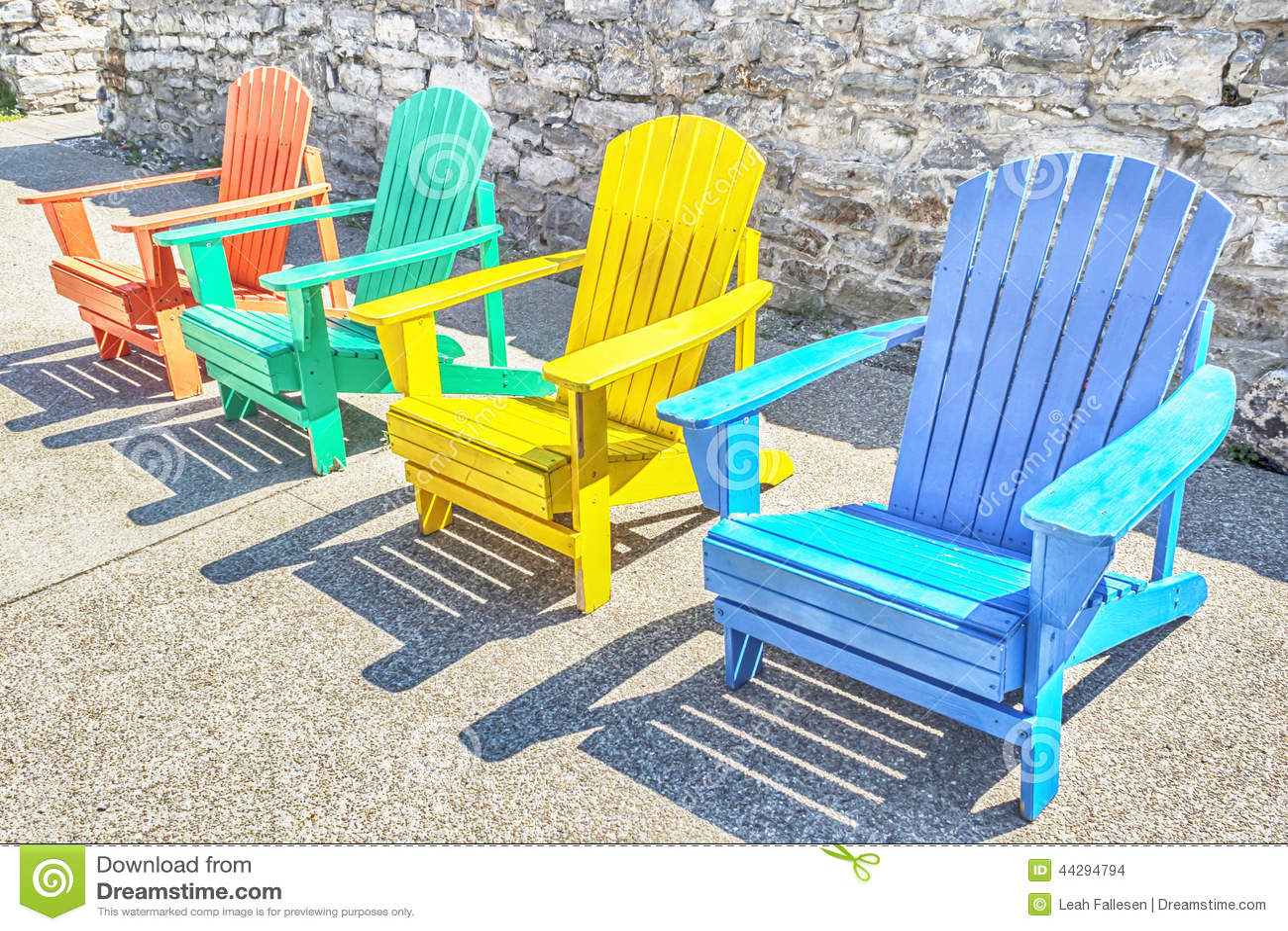 Colorful adirondack chairs - Colorful Adirondack Chairs Stock Photo