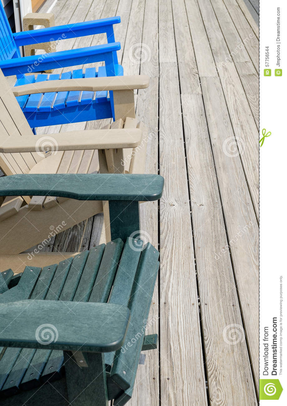 Colorful Adirondack Deck And Beach Chairs In Bright Blue