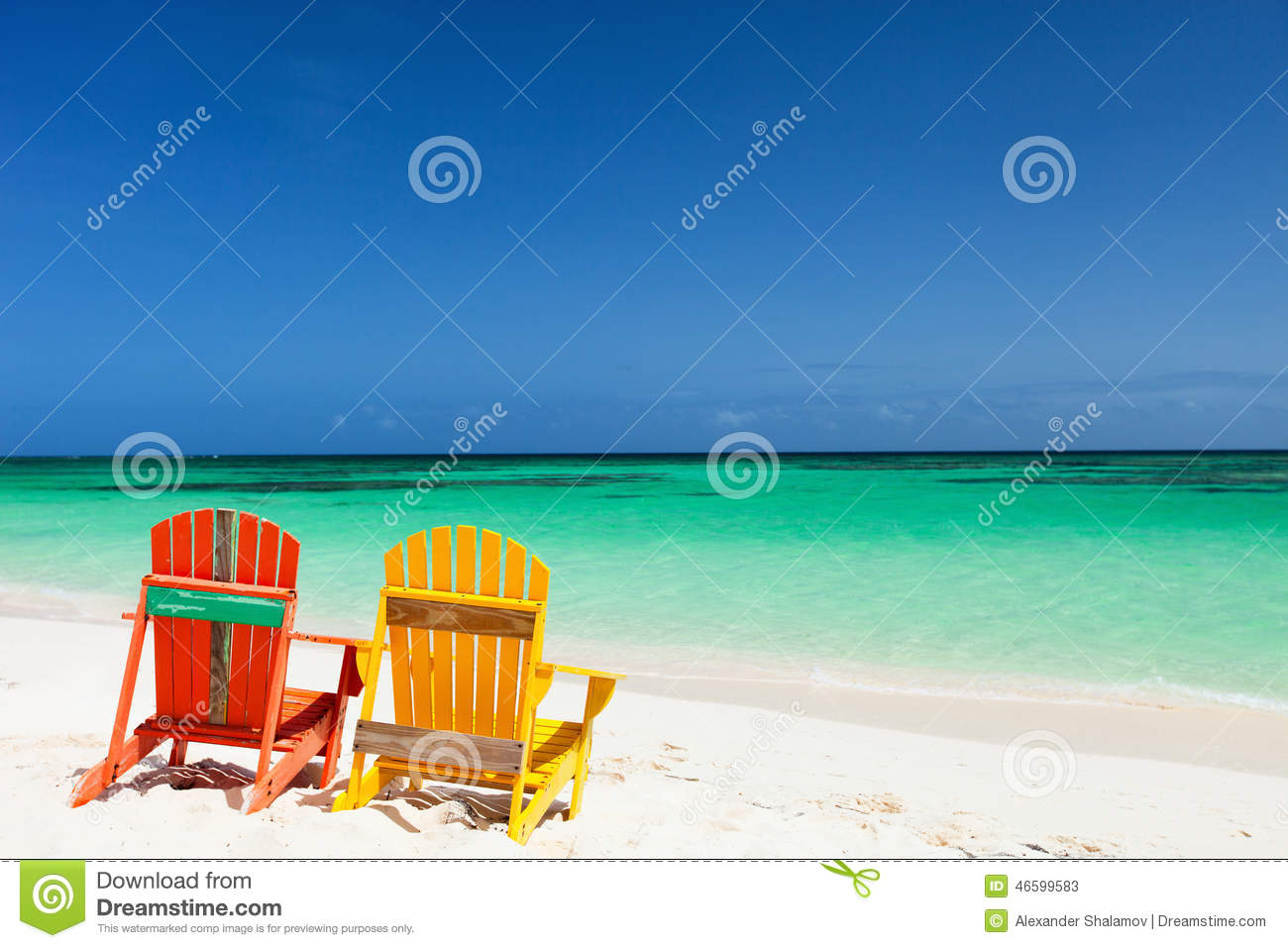 Adirondack chairs on beach sepia -  Colorful Adirondack Chairs On Beach