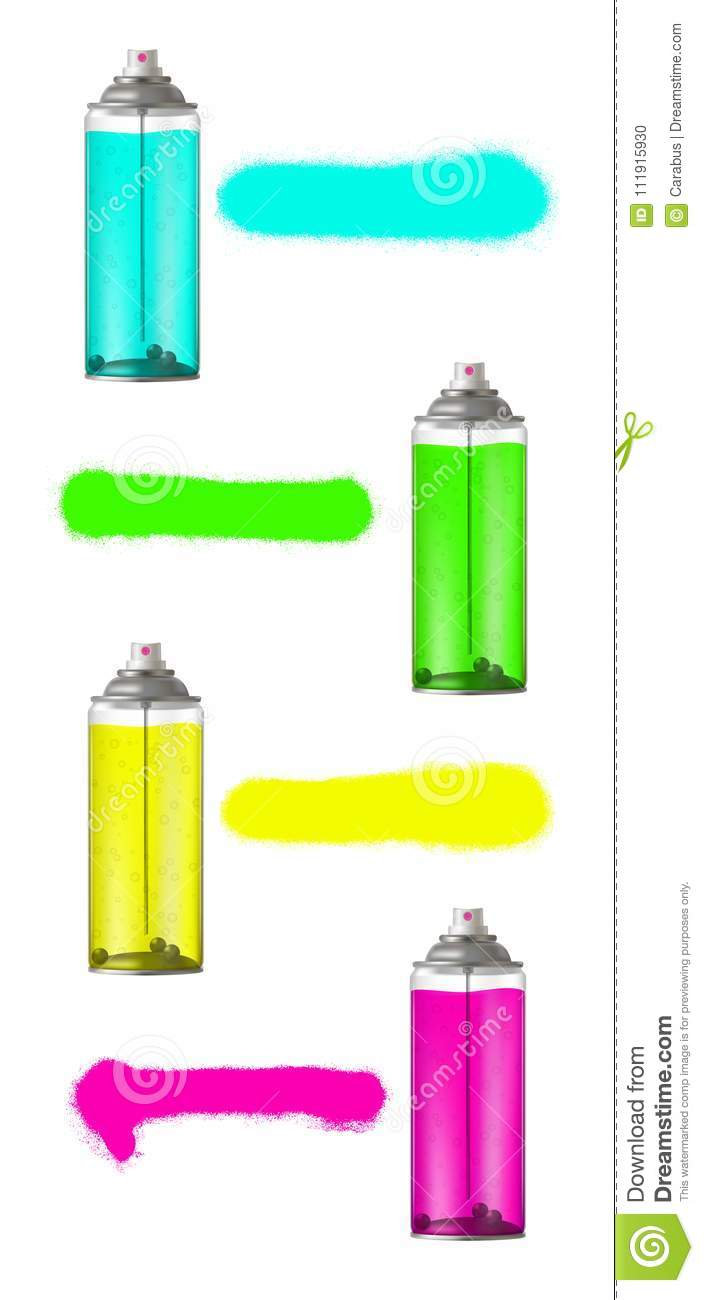 Colorful Aerosol Spray Can Set With Spray Paint Vector