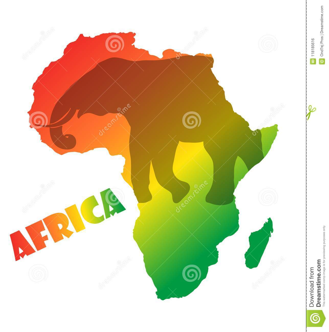 Colorful Africa Map Isolated On Transparent Background. World