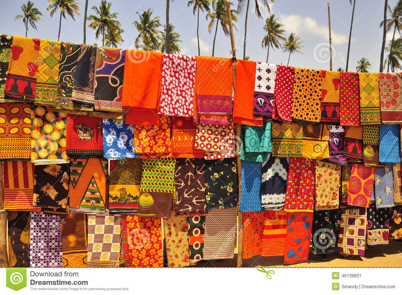 Colorful african market, capulanas fabric in mozambique.