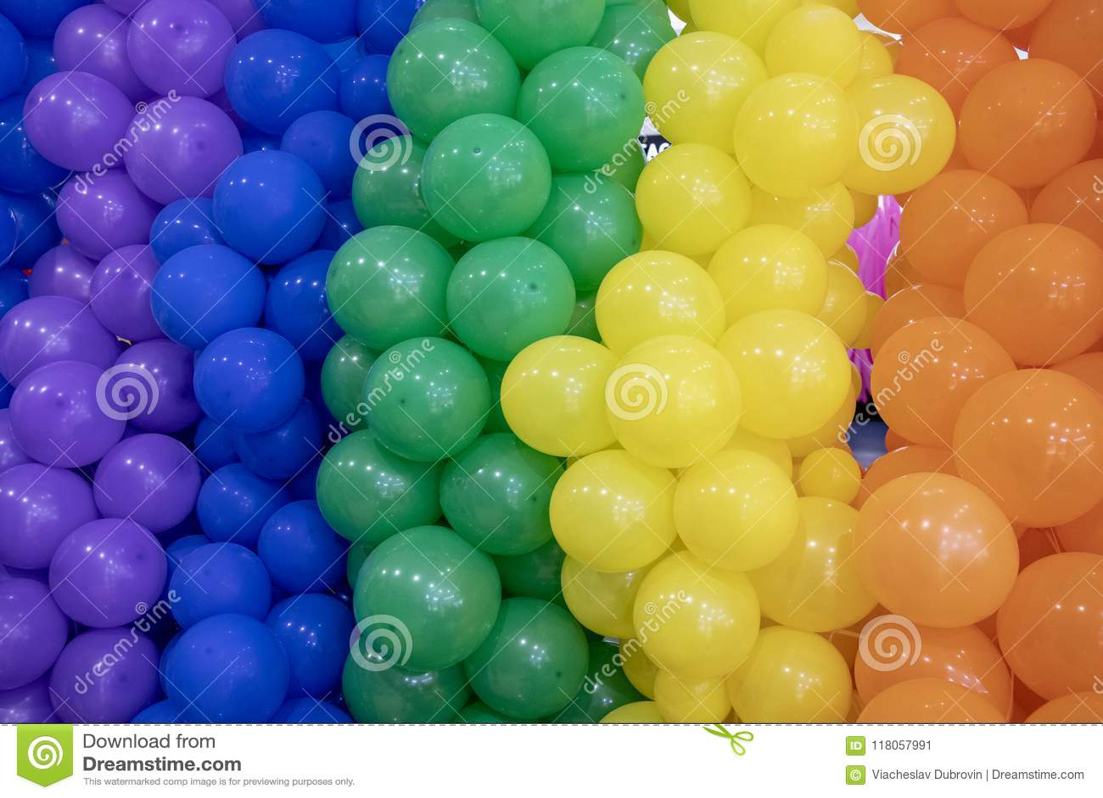 Colorful Air Balloon Wall Closeup Photo. Vivid Party Balloon ...