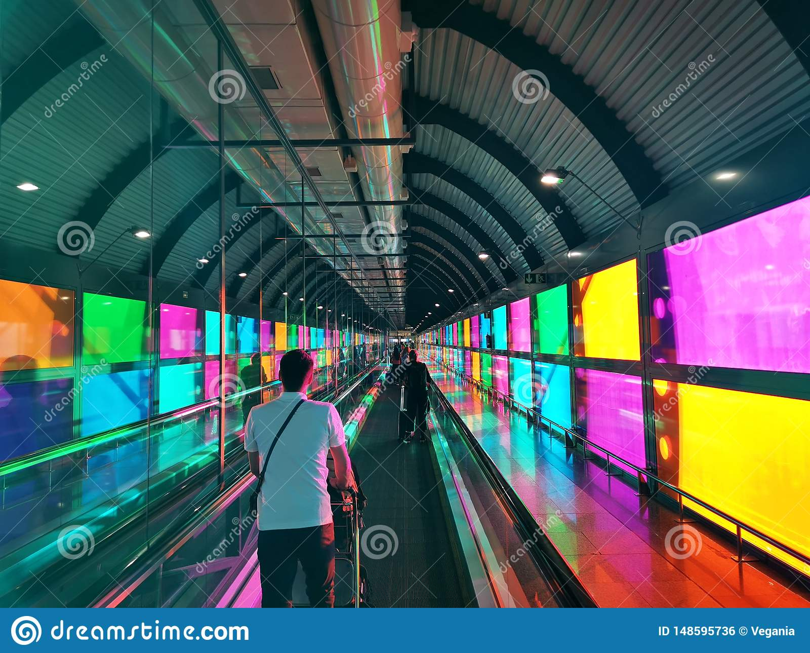 Colorful airport in Madrid Spain