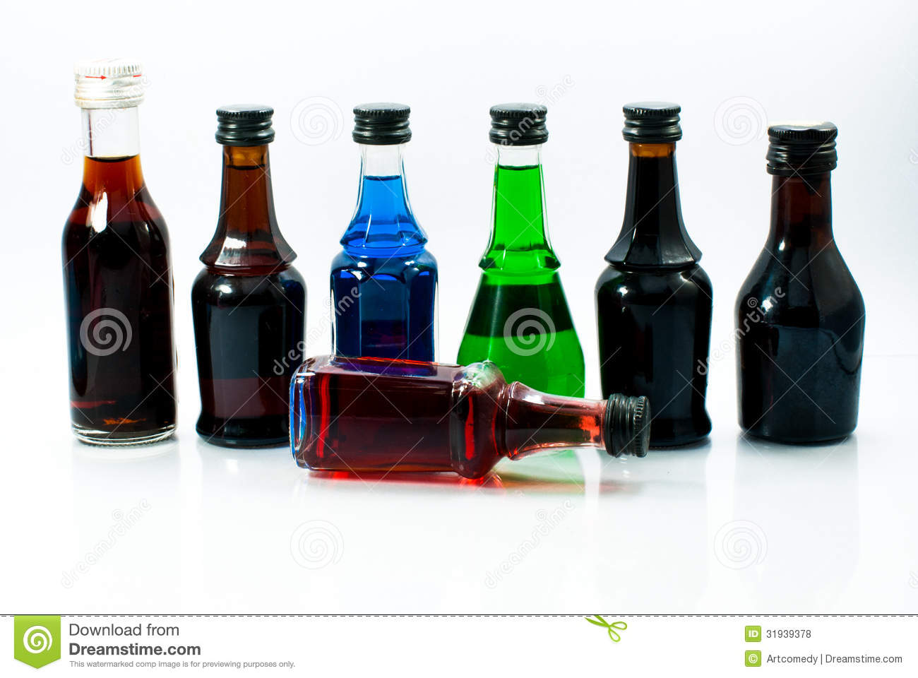 Colorful Alcohol Small Bottles Royalty-Free Stock ...