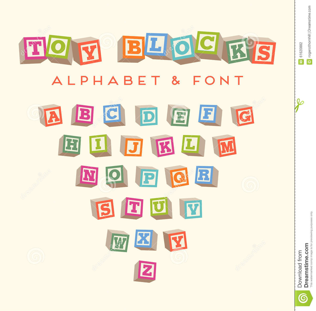 Colorful Alphabet Blocks Baby Blocks Font Stock Vector ...