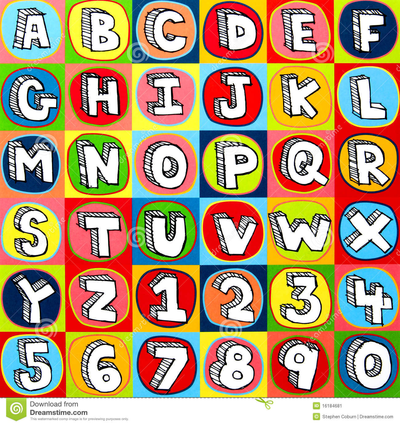 colorful alphabet letters and numbers
