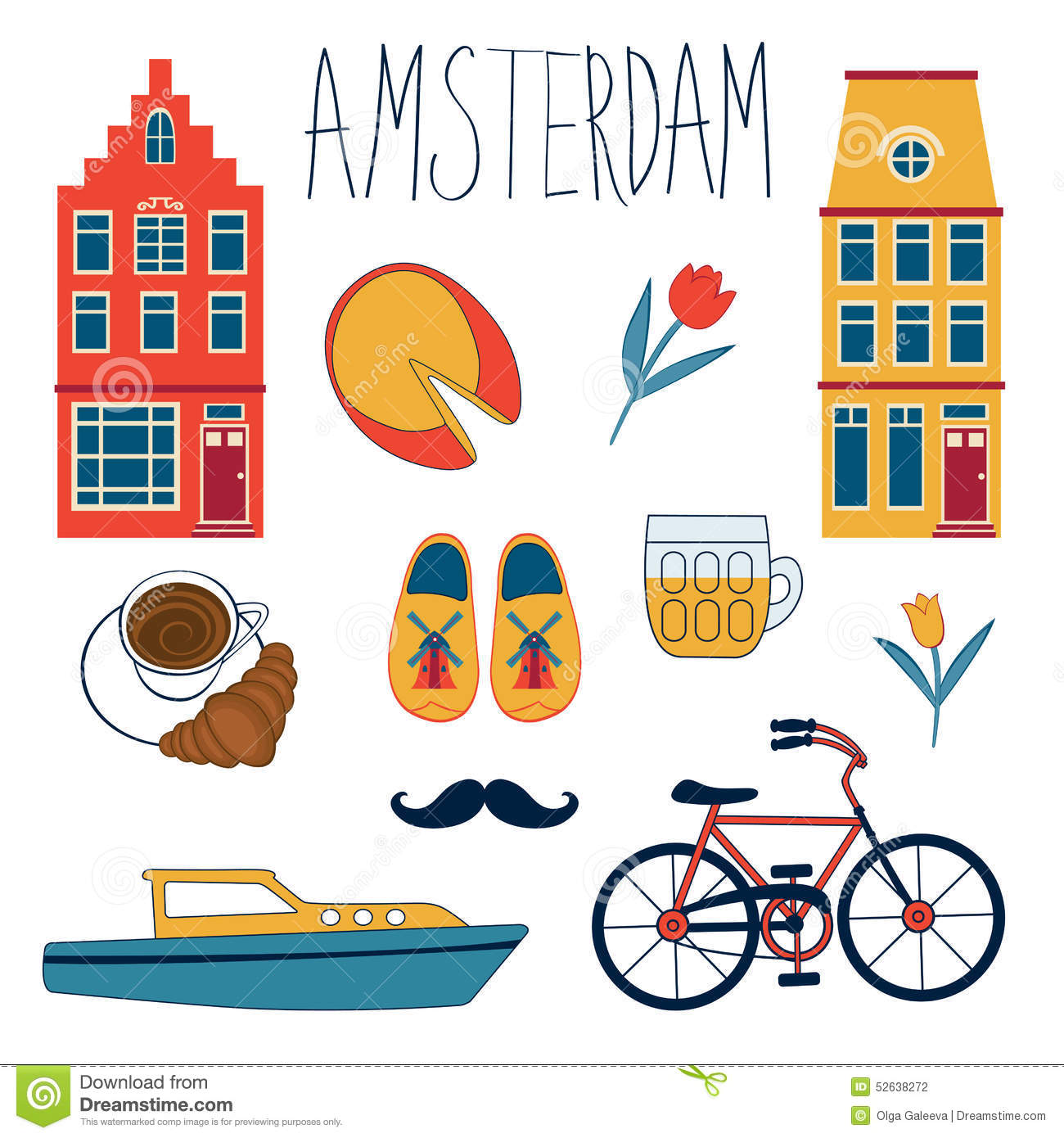 Free Vector Illustration Juniper: Colorful Amsterdam Set Stock Vector. Image Of Ecology