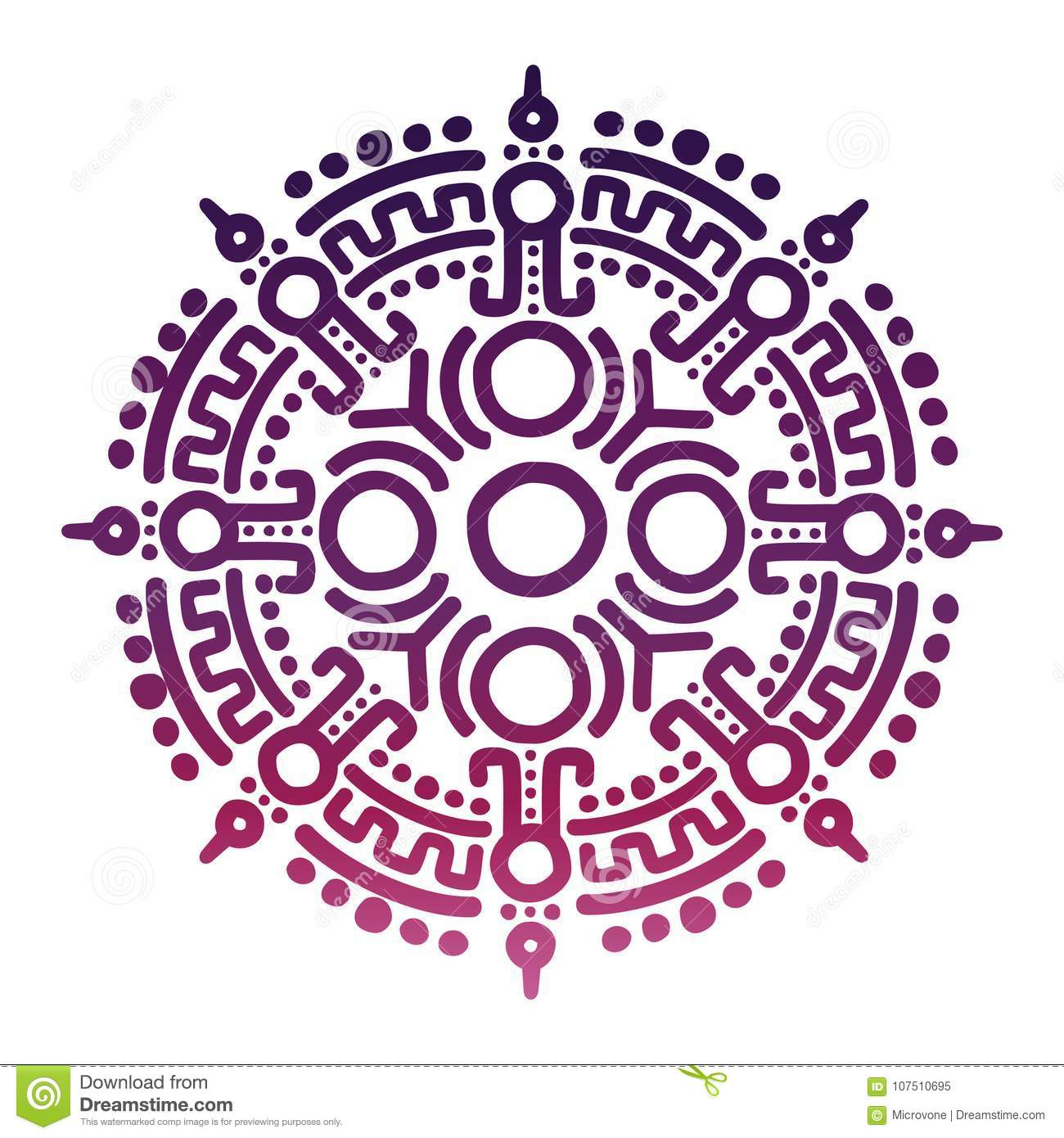 Colorful Ancient Mexican Mythology Symbol Stock Vector