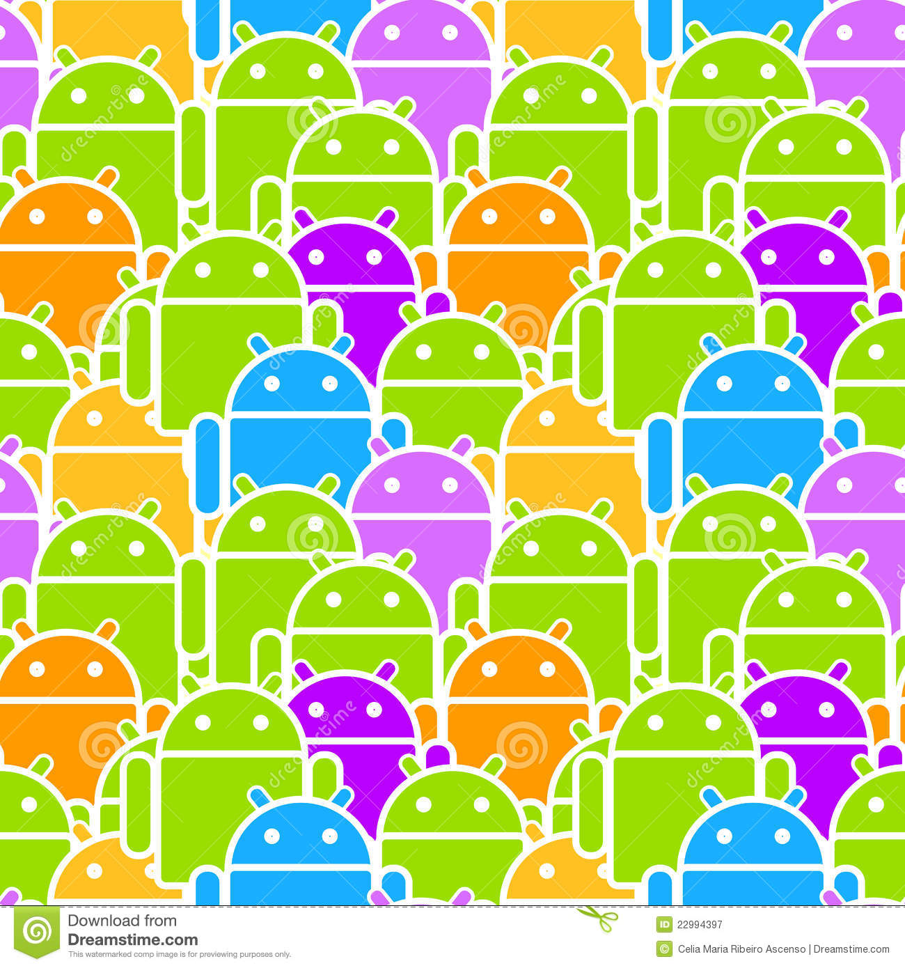 Colorful Android mob or team mobile os seamless background or pattern.