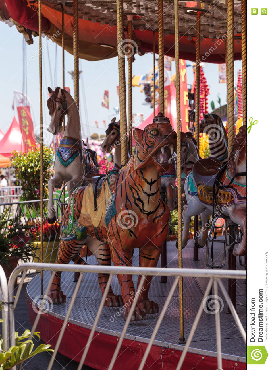 colorful animal carousel carnival ride stock photo image of summer