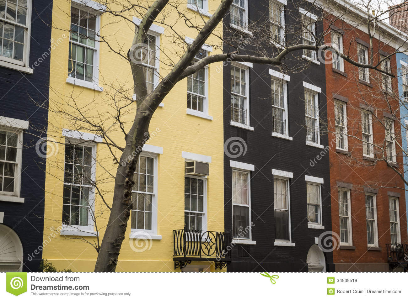 Colorful Apartment Buildings New York City Royalty Free