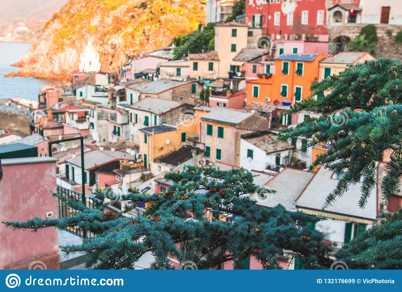 Famous view of the Vernazza old town Italy Cinque terre in the early morning sunrise view, colorful traditional building houses an