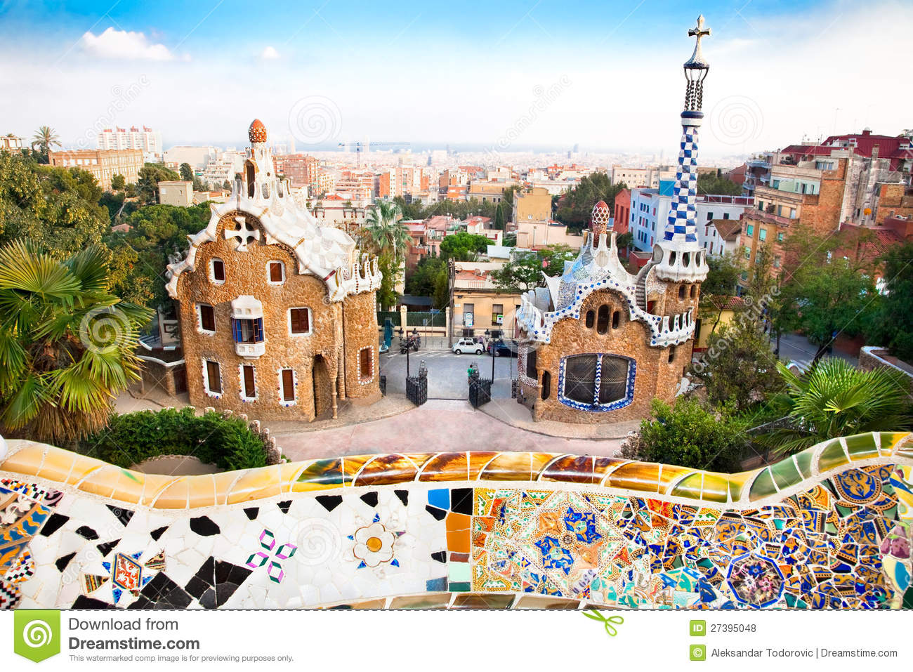 Colorful Architecture In Park Guell Royalty Free Stock ...