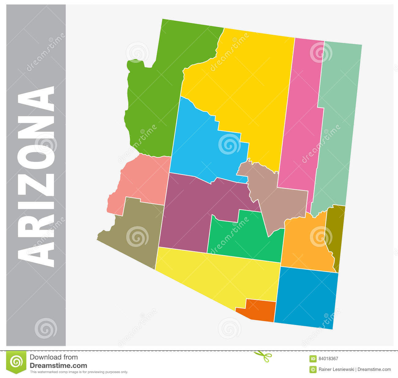 Colorful Arizona Administrative And Political Map Stock Vector