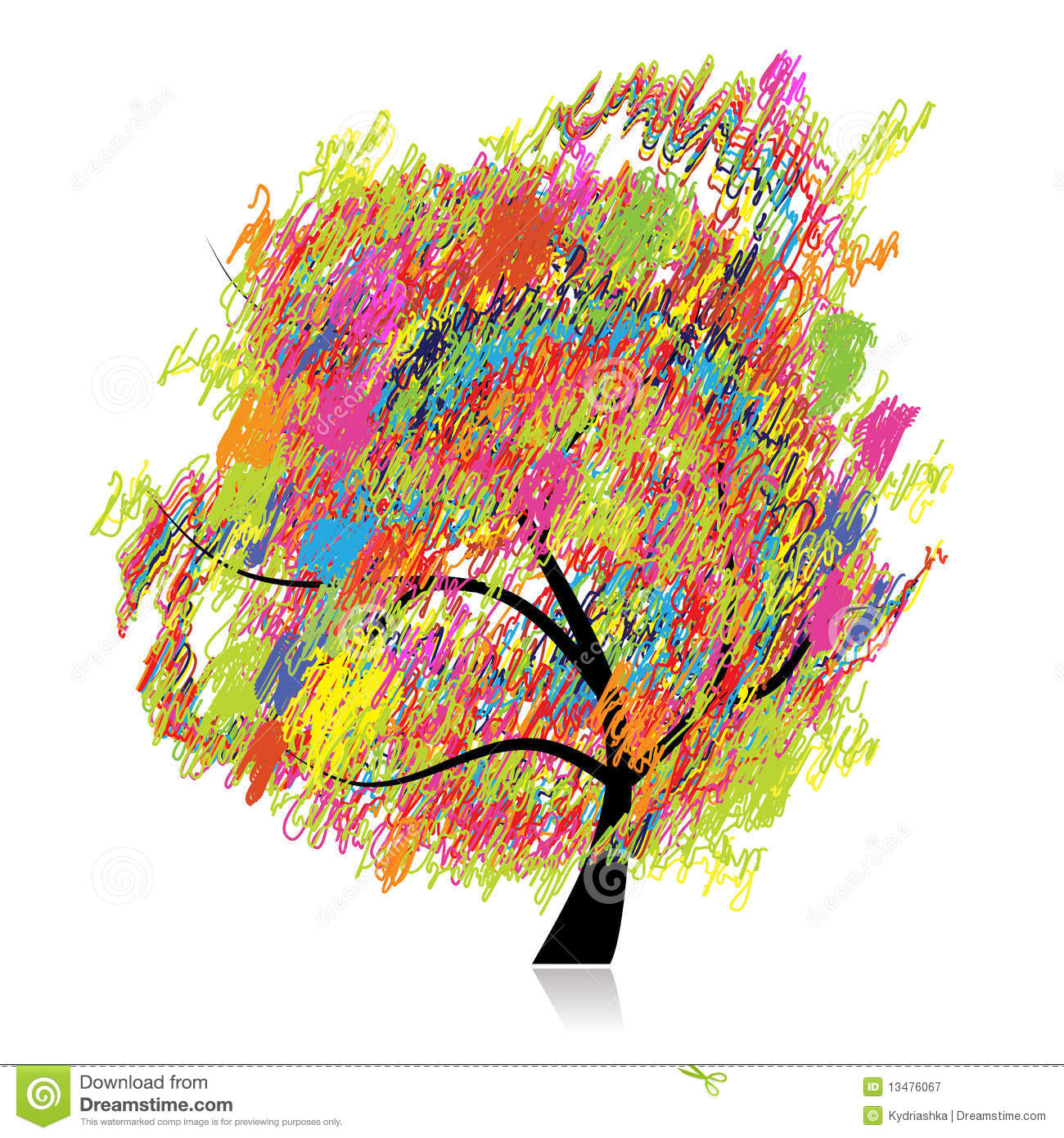 Colorful Art Tree, Pencil Sketch Drawing Royalty Free