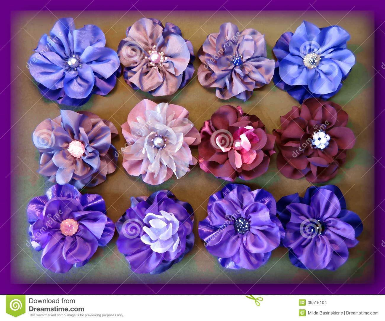 Colorful artificial fabric flowers