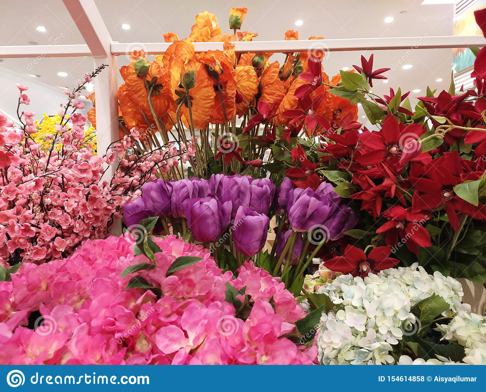 Colorful Artificial Flowers Made Of Plastic Display In Shops For Sale Editorial Stock Photo Image Of House Bright 154614858