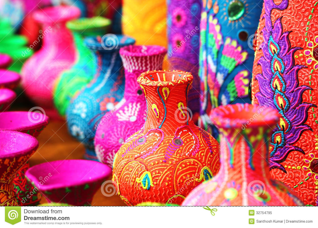 Colorful Artistic Pots Or Flower Vases In Vibrant Colors Stock Image ...