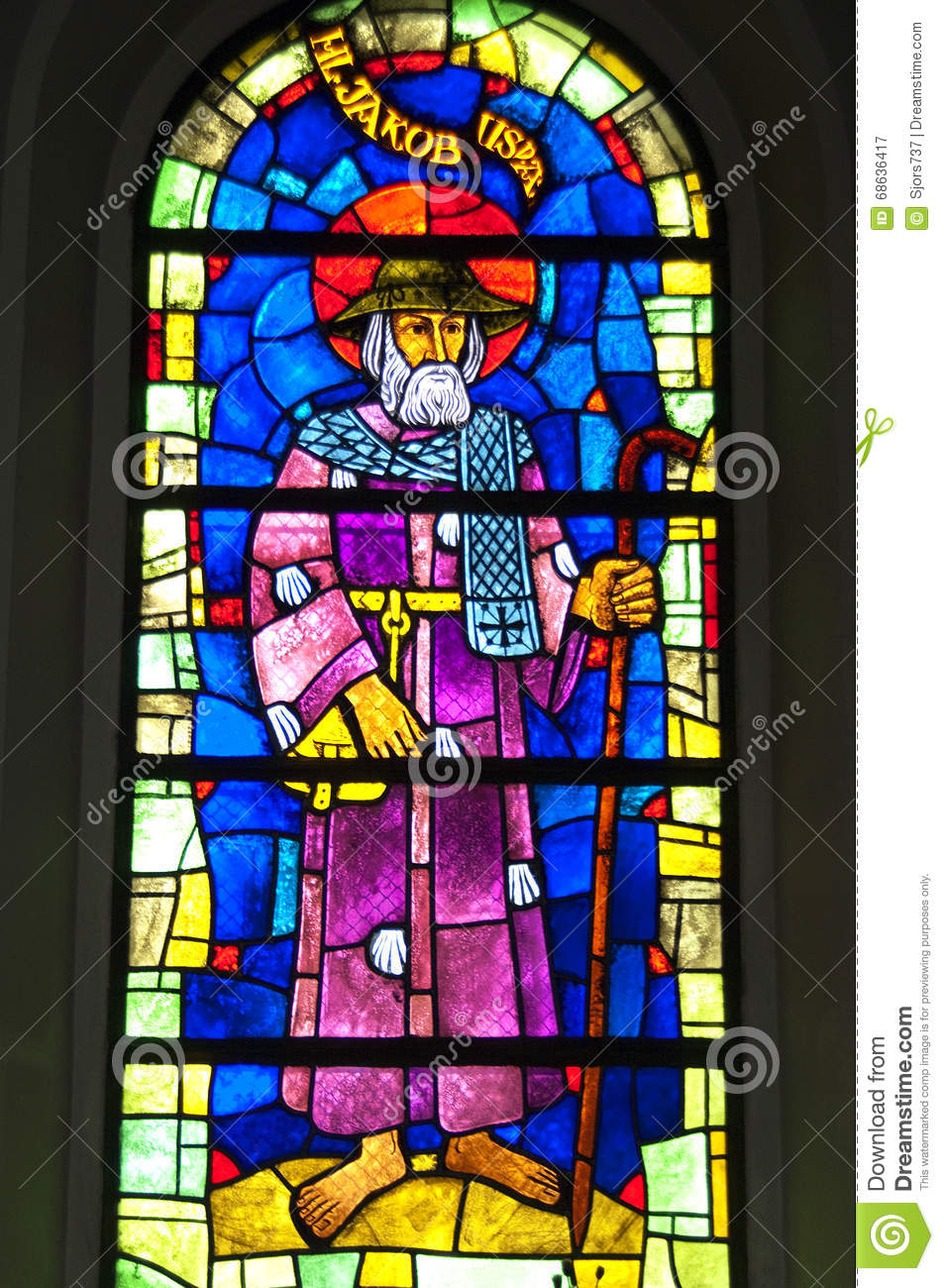 Colorful artwork of Saint James, stained-glass window