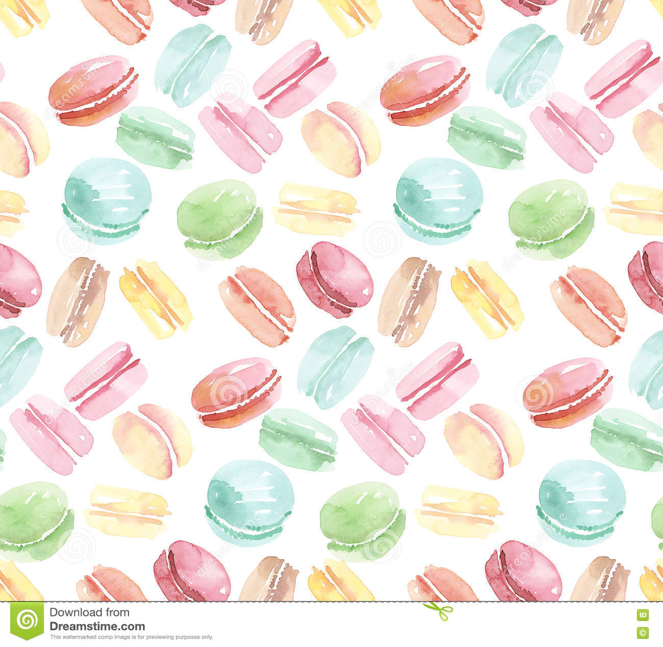 Colorful assorted macaroon seamless pattern.