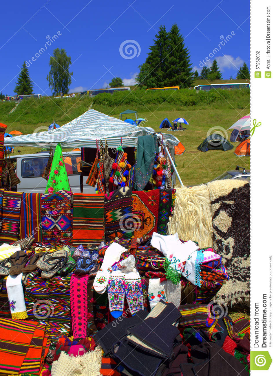 Colorful Authentic Handmade Rodopian Objects Stock Photo