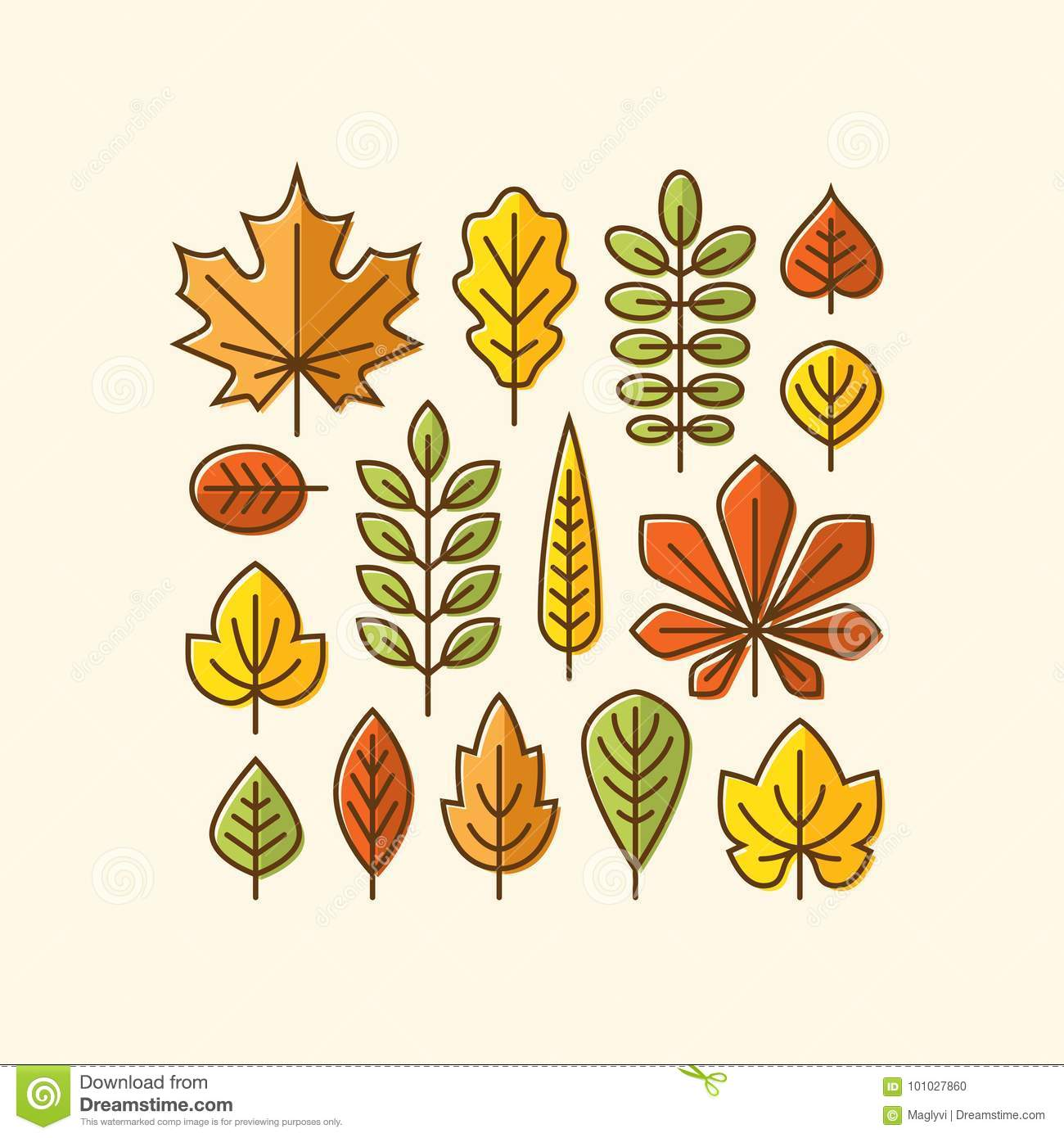 Colorful Autumn Leaves Icons Set Stock Vector Illustration Of Season Linear 101027860