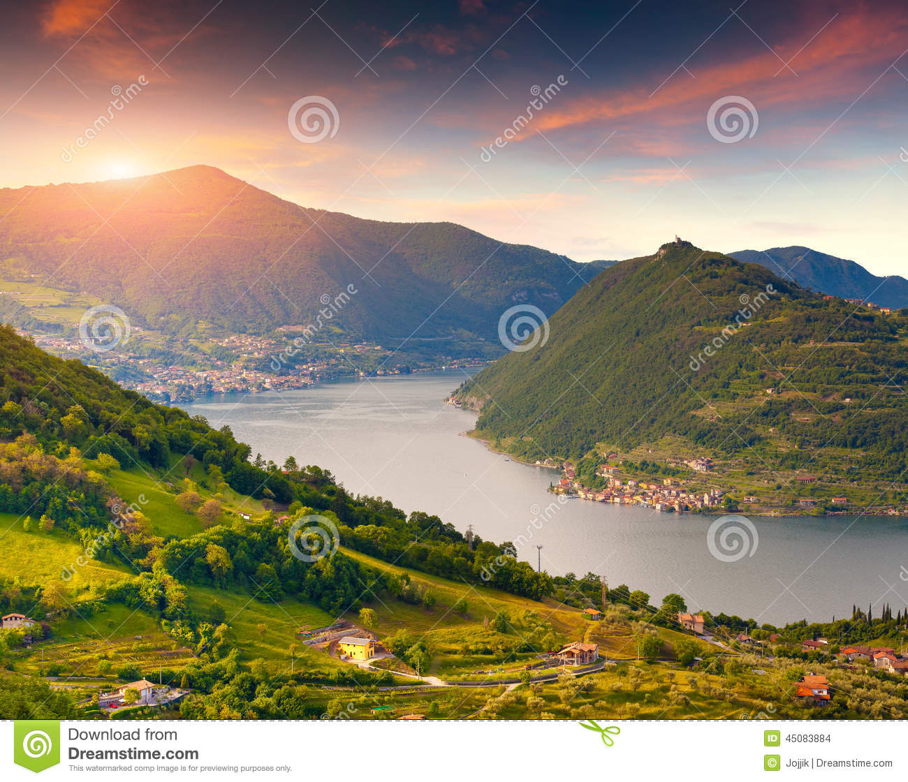 Colorful autumn morning oт the Lake Iseo. Italy, Alps.